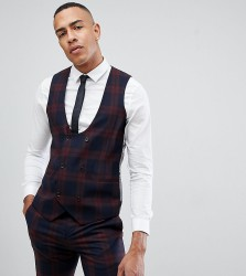 Twisted Tailor super skinny waistcoat in burgundy check - Red