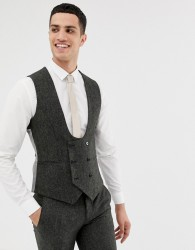 Twisted Tailor super skinny waistcoat in charcoal donegal tweed - Grey