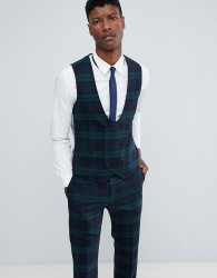 Twisted Tailor super skinny waistcoat in green check - Green
