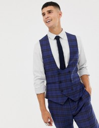 Twisted Tailor super skinny waistcoat with blue tartan check in wool - Blue
