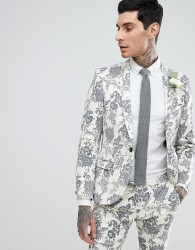 Twisted Tailor Wedding Super Skinny Suit Jacket In Cream Flocked Linen - Cream