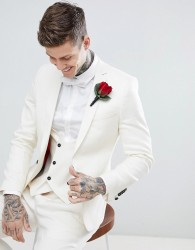 Twisted Tailor Wedding Super Skinny Suit Jacket In Cream Linen - Cream