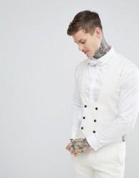 Twisted Tailor Wedding Super Skinny Waistcoat In Cream Linen - Cream