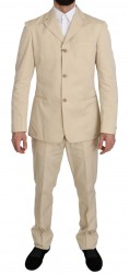 Two Piece 3 Button Beige Cotton Solid Suit