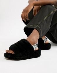 UGG Black Fluff Yeah Slides - Black