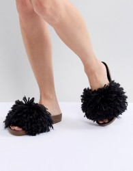 UGG Cindy Black Shaggy Slides - Black