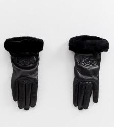 UGG Classic Leather Logo Gloves in Black - Black