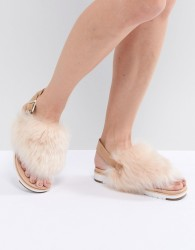 UGG Holly Beige Fluffy Beige Buckle Back Flat Sandals - Beige
