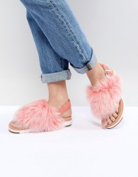 UGG Holly Pink Fluffy Buckle Back Flat Sandals - Pink