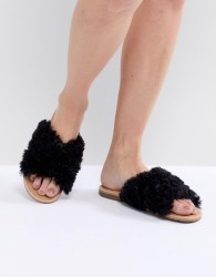 UGG Joni Black Shaggy Cross Strap Slides - Black