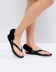 UGG LaaLaa black fluffy back removable fur flat sandals - Black