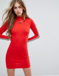 Umbro High Neck Bodycon Dress With Arm Tape Logo - Red