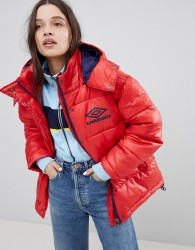 Umbro Padded Coat In High Shine Vinyl - Red