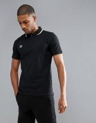 Umbro Tipped Pique Polo Shirt - Black