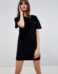 Uncivilised Casette Print Velour Dress - Black