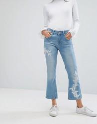 Uncivilised Embroidered Side Flared Jeans - Blue