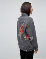Uncivilised Floral Embroidered Destroyed Denim Jacket - Black