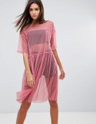 Uncivilised Mesh Tutu Midi Dress - Pink