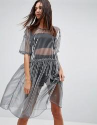 Uncivilised Mesh Tutu Midi Dress - Silver