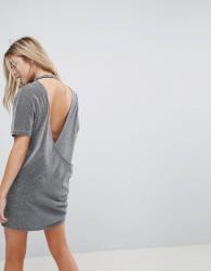 Uncivilised Metallic Open Back T-Shirt Dress - Grey