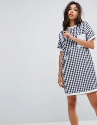 Uncivilised Mix Check Tee Dress - Navy
