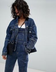 Uncivilised Oversized Denim Jacket with Cord Collar - Blue