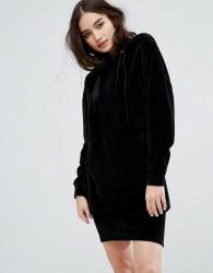 Uncivilised Oversized Velour Sweat Dress - Black