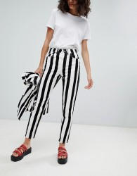 Uncivilised Reff Stripe Mom Jeans - Black