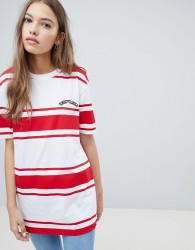 Uncivilised Retro Sporty Striped T-Shirt Dress - Red