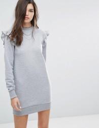 Uncivilised Ruffle Sweat Dress - Grey