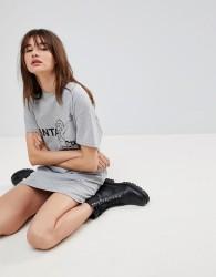 Uncivilised Santa Cruz Print Open Back T-Shirt Dress - Grey