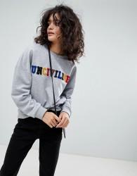 Uncivilised Towelling Rainbow Logo Sweatshirt - Grey