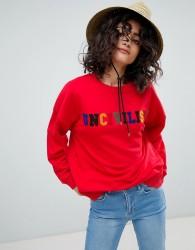 Uncivilised Towelling Rainbow Logo Sweatshirt - Red