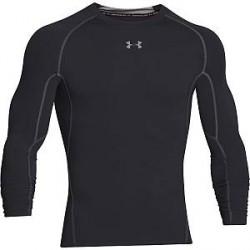 Under Armour HeatGear LS Compression Shirt - Black/Grey - X-Large