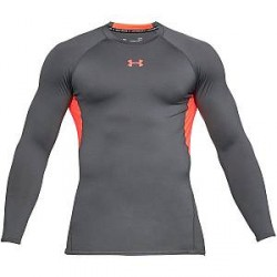 Under Armour HeatGear LS Compression Shirt - Red/Grey - X-Large