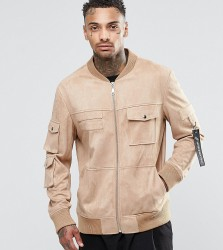 Underated Faux Suede Utility Jacket - Stone