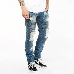 Underated Jeans - Distressed Stone Wash Biker