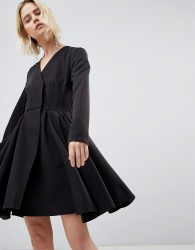 Unique 21 Black Dress With Pleated Skirt - Black