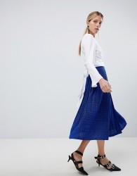 Unique 21 Blue Glitter Pleated Skirt - Blue