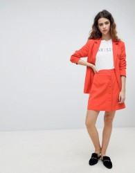 Unique 21 Button Front Mini Skirt Co-Ord - Orange