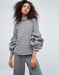 Unique 21 Gingham High Neck Blouse With Frill Detail - Multi