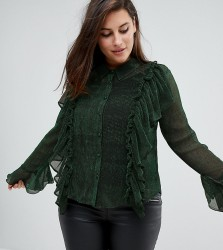 Unique 21 Hero Blouse With Ruffle Detail In Glitter Rib - Green
