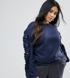 Unique 21 Hero Boat Neck Top With Ruffle And Pearl Sleeves - Navy