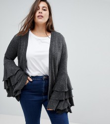 Unique 21 Hero Cardigan With Extreme Frill Sleeve - Grey