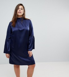 Unique 21 Hero High Neck Dress With Bell Sleeves - Navy
