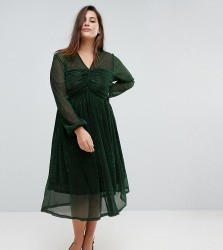 Unique 21 Hero Midi Dress With Ruched Bust In Glitter Rib - Green