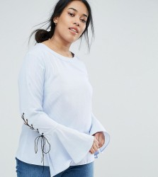 Unique 21 Hero Plus Blouse With Fluted Sleeves & Lace Up Detail - Blue
