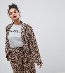Unique 21 Hero Plus Boyfriend Fit Blazer In Leopard Print Co-Ord - Multi