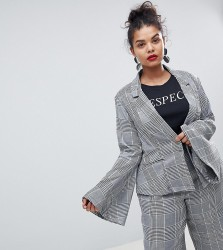 Unique 21 Hero Plus Fitted Blazer With Flared Sleeves In Prince Of Wales Check Co-Ord - Grey