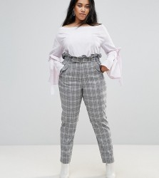 Unique 21 Hero Plus High Waist Paper Bag Trousers In Check - Grey